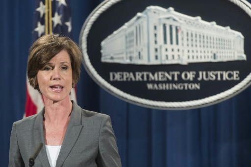 Sally Yates, le 28 juin 2016 lors d'une conférence de presse au Département de la Justice, à Washington © SAUL LOEB AFP/Archives