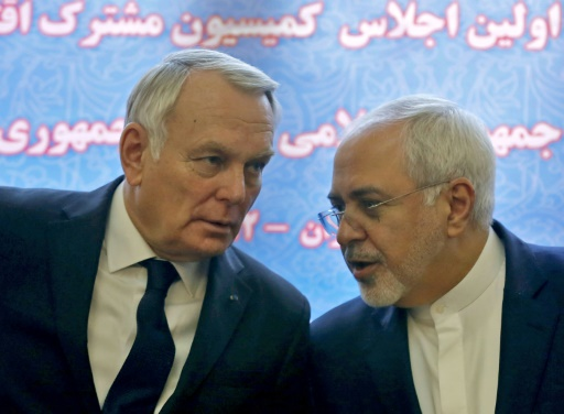 Le ministre iranien des Affaires étrangères Mohammad Javad Zarif et son homologue français Jean-Marc Ayrault (g), le 31 janvier 2017 à Téhéran © ATTA KENARE AFP