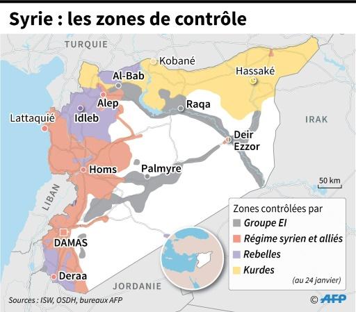 Syrie : les zones de contrôle © Thomas SAINT-CRICQ, Paz PIZARRO AFP