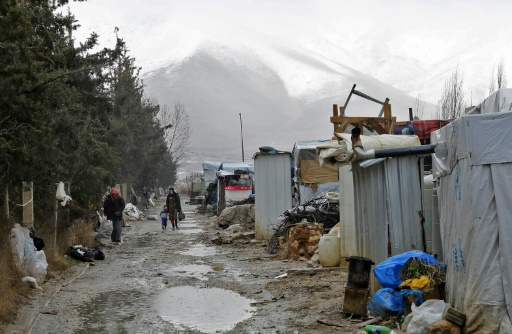 Le camp de réfugiés syriens de Deir Zannoun dans la vallée de la Bekaa au Liban le 31 janvier 2017 © JOSEPH EID AFP
