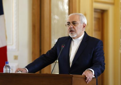 Le ministre iranien des Affaires étrangères Mohammad Javad Zarif lors d'une conférence de presse, le 31 janvier 2017 à Téhéran © ATTA KENARE AFP