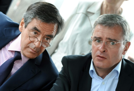 François Fillon (g) et Marc Joulaud le maire de Sablé-sur-Sarthe, à La Suze-sur-Sarthe le 4 juin 2012 © JEAN-FRANCOIS MONIER AFP/Archives