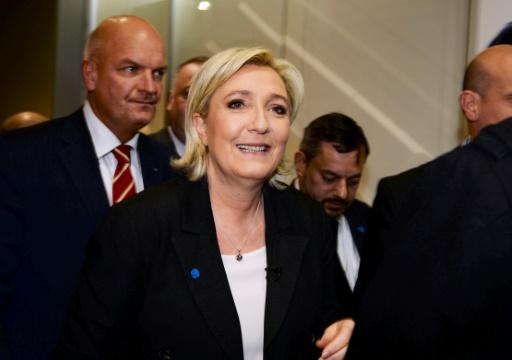 La présidente du Front national Marine Le Pen au Salon des Entrepreneurs le 1er février 2017 à Paris © ERIC PIERMONT AFP