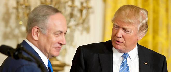 """Le Premier ministre israélien Benyamin Netanyahu a jugé mercredi soir, lors d'une conférence de presse avec le président américain Donal Trump, que celui-ci offrait """"une occasion sans précédent"""" pour faire avancer la paix."""