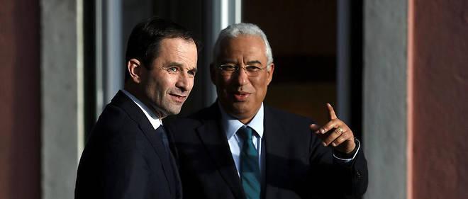 Le candidat socialiste français avec le Premier ministre portugais, Antonio Costa.