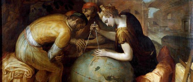 Allégorie et personnification de la Géométrie tenant un compas au-dessus d'un globe. Différents instruments de géomètre sont disposés au premier plan. Peinture de Frans Floris (1515-1570). Art flamand. Collection privée, Gênes.