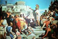 Tableau illustrant l'épisode où, d'après l'historien Thucydide, le stratège Périclès fit l'oraison funèbre des soldats athéniens morts pendant la guerre du Péloponnèse.