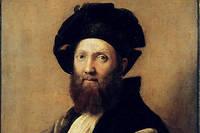 Portrait de Baldassarre Castiglione (1478-1529), comte de Novellata, écrivain et diplomate italien, par Raffaello Sanzio dit Raphaël (1483-1520). XVIe siècle. Huile sur toile. Dim : 0,82 x 0,67 m. Paris, musée du Louvre