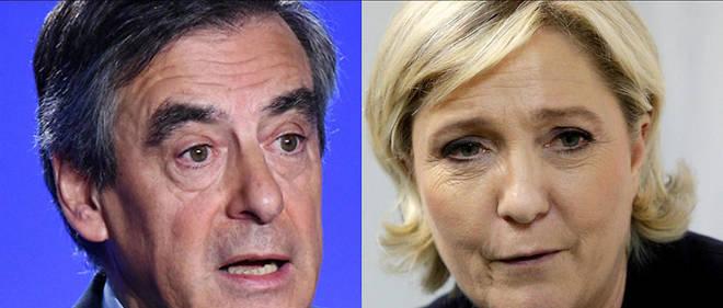 François Fillon et Marine Le Pen : les enquêtes dont ils font l'objet n'ont pas le même traitement sur Twitter.