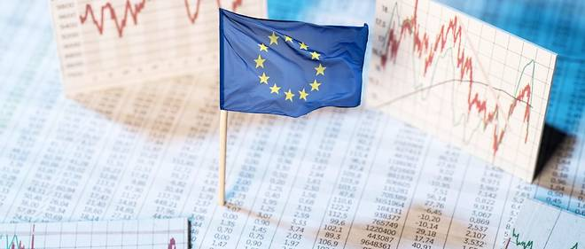 European flag with rate tables and graphs for economic development.