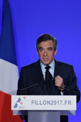 François Fillon à son QG de campagne le 1er mars 2017 à Paris  © Christophe ARCHAMBAULT AFP