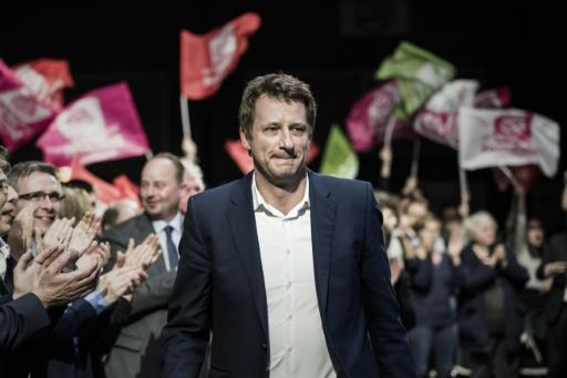 Yannick Jadot lors du meeting de Benoît Hamon le 1er mars 2017 à Brest © PHILIPPE LOPEZ AFP
