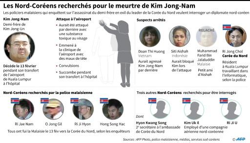 Les Nord-Coréens recherchés pour le meurtre de Kim Jong-Nam © John SAEKI AFP