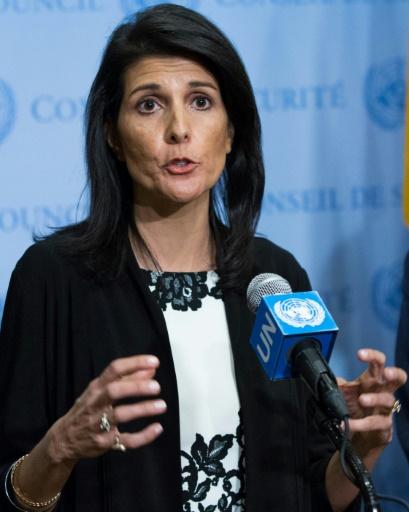 L'ambassadrice américaine à l'ONU Nikki Haley lors d'une conférence de presse, le 8 mars 2017 à New York © EDUARDO MUNOZ ALVAREZ AFP