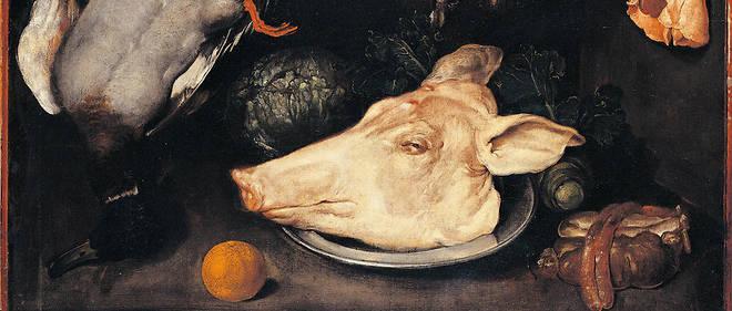 Nature morte avec canard, porcelet, abats, chou-fleur et un fruit. Peinture de Giacomo Ceruti dit il Pitocchetto (1698-1767), entre 1700 et 1750. Huile sur toile. Dim : 66 x 87cm. Milan, Collection privée Electa/Leemage