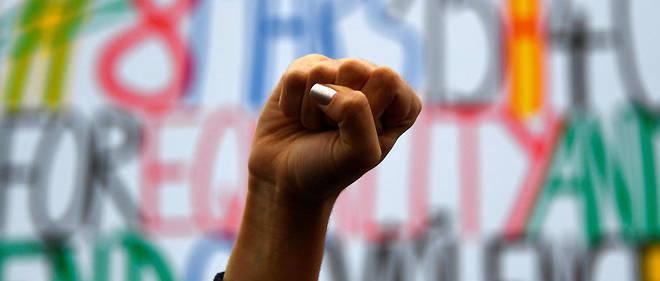 Lors d'une manifestation à Paris à l'occasion de la Journée internationale pour les droits des femmes.