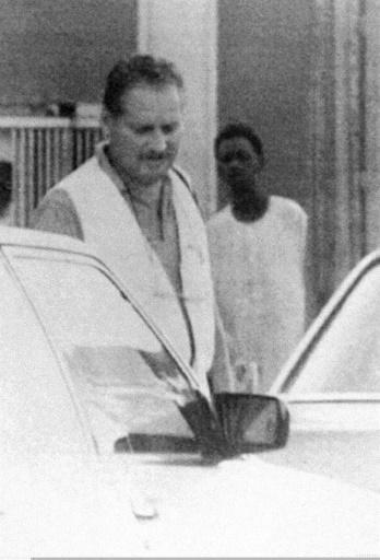 Le Vénézuélien Illich Ramirez Sanchez, alias Carlos, lors de son arrestation en 1994 au Soudan © DSK OFF/AFP/Archives