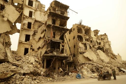 Des immeubles détruits dans un ancien quartier rebelle d'Alep, le 10 mars 2017 en Syrie © JOSEPH EID AFP