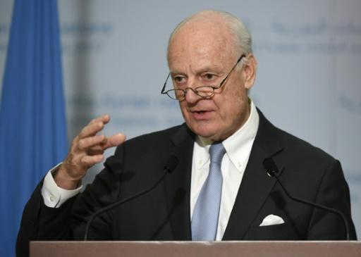 L'émissaire spécial pour la Syrie Staffan de Mistura, lors d'une conférence de presse à l'issue des discussions de paix au siège de l'ONU, le 3 mars 2017 à Genève © PHILIPPE DESMAZES AFP/Archives