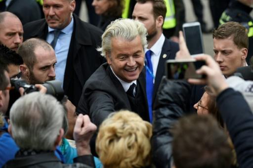 Le député d'extrême droite néerlandais Geert Wilders en campagne le 11 mars à Heerlen © JOHN THYS AFP