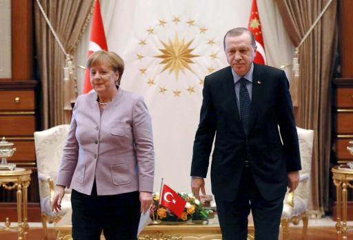 Le président turc Recep Tayyip Erdogan et la Chancelière allemande Angela Merkel, le 2 février 2017 à Ankara © ADEM ALTAN AFP/Archives