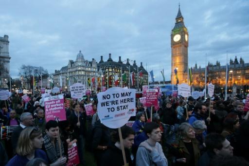 Manifestation pour le maintien du statut de citoyen européen, le 13 mars 2017 à Londres  © Daniel LEAL-OLIVAS AFP