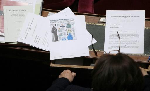 Un descriptif des différents voiles islamiques sur le bureau d'un sénateur, le 14 septembre 2010 à Paris © JACQUES DEMARTHON AFP/Archives