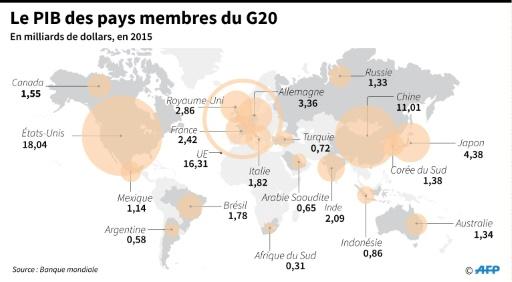 Le PIB des pays membres du G20 © Gal ROMA AFP