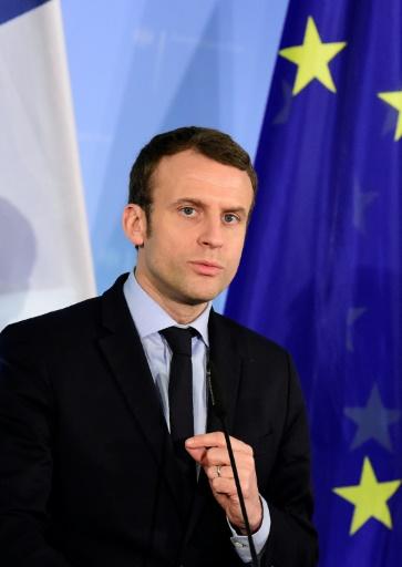 Emmanuel Macron le 16 mars 2017 à Berlin © Tobias SCHWARZ                      AFP