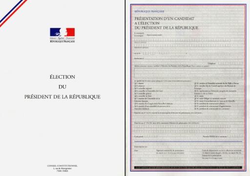Montage de deux pages du formulaire de parrainage © DSK AFP/Archives