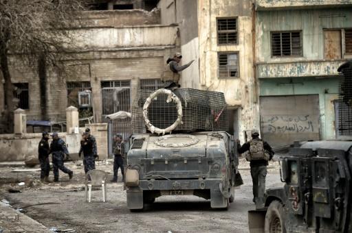 Les forces irakiennes dans la Vieille ville de Mossoul, le 13 mars 2017 © ARIS MESSINIS AFP/Archives
