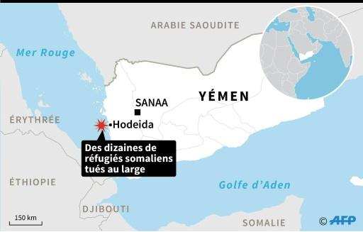 Carte de localisation d'Hodeida sur la Mer Rouge. Plus de quarante réfugiés somaliens, dont des femmes et des enfants, ont été tués en mer Rouge, au large du Yémen © AFP AFP