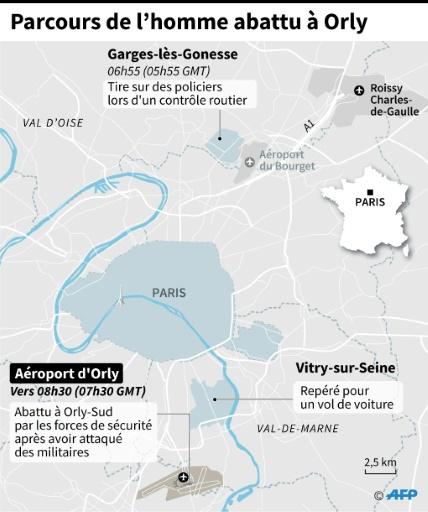 Localisation du parcours de l'homme abattu par les forces de sécurité à l'aéroport d'Orly après avoir attaqué des militaires, de Garges-lès-Gonesse dans le Val d'Oise à Orly-Sud  © Paz PIZARRO, Aude GENET AFP