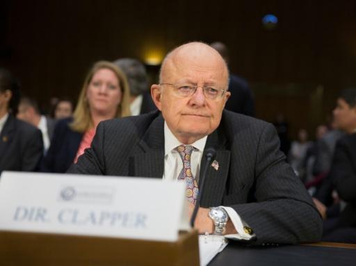 James Clapper, le 10 janvier 2017 lors d'une audition au Sénat sur les activités des services de renseignement russes, le 10 janvier 2017 à Washington © Tasos Katopodis AFP/Archives