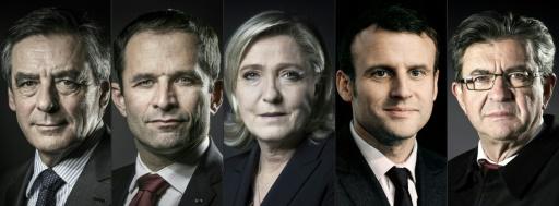 Montage en date du 21 février 2017 de portraits d'archives de François Fillon, Benoît Hamon, Marine Le Pen, Emmanuel Macron et Jean-Luc Mélenchon © JOEL SAGET AFP/Archives
