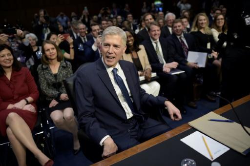 Le haut magistrat Neil Gorsuch, nommé par Donald Trump à la Cour suprême des Etats-Unis, le 20 mars 2017 au Capitole à Washington © Brendan SMIALOWSKI AFP