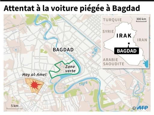 Localisation de Hay al-Amel à Bagdad, touché par un attentat à la voiture piégée lundi.  © Iris de VERICOURT , Simon MALFATTO AFP