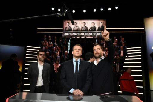 Emmanuel Macron lors du premier débat avant la présidentielle à Aubervilliers, près de Paris, le 20 mars 2017 © Eliot BLONDET POOL/AFP