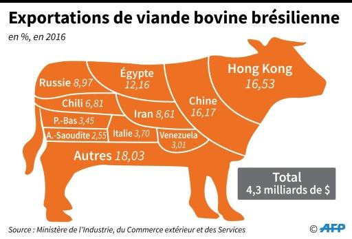 Exportations de viande bovine brésilienne © Anella RETA, Gustavo IZUS AFP