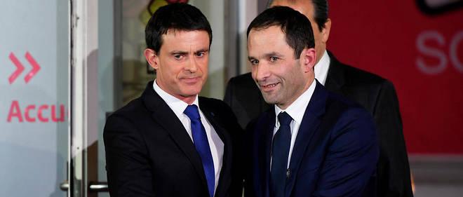 Manuel Valls avec Benoit Hamon après le verdict de la primaire socialiste.