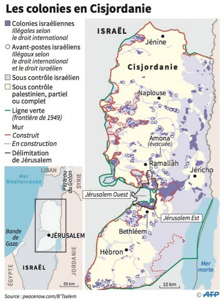 Les colonies en Israël ©  AFP