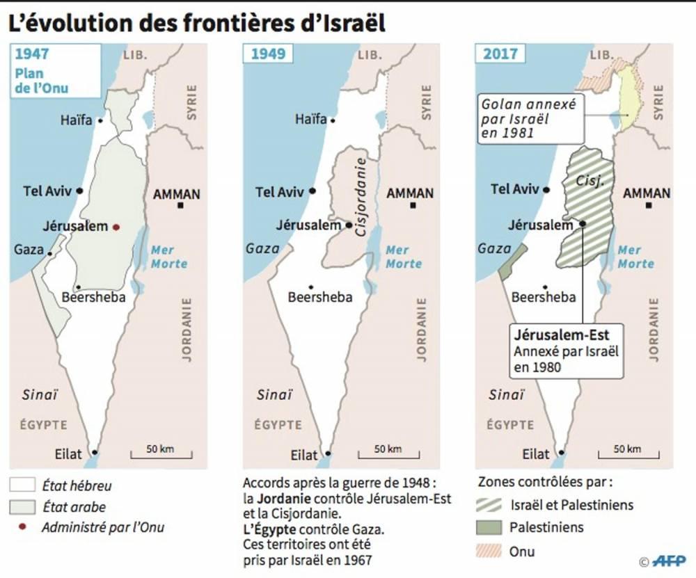 Évolution des frontières d'Israël ©  AFP