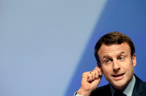 Emmanuel Macron lors de son discours devant la FNSEA, le 30 mars 2017 à Brest © FRED TANNEAU AFP/Archives