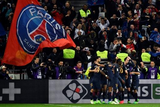 La joie du Paris Saint-Germain après le deuxième but personnel d'Edinson Cavani face à Monaco, le 1er avril au Parc OL en finale de la Coupe de la Ligue © Jeff PACHOUD AFP