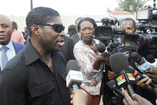 Teodorin Obiang Nguema (g), fils du président de la Guinée Equatoriale, le 23 décembre 2014 à Malabo © Steve Jordan AFP/Archives