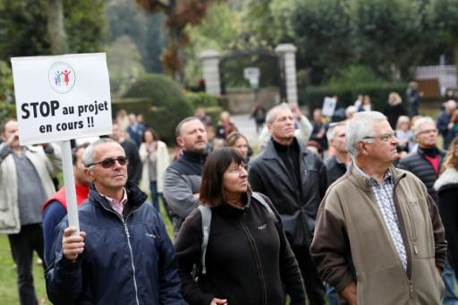 """Un manifestant tient une pancarte """"Stop au projet en cours"""", lors d'une manifestation contre le refuge pour migrants à Forges-les-Bains, près de Paris, le 8 octobre 2016 © Thomas SAMSON AFP"""