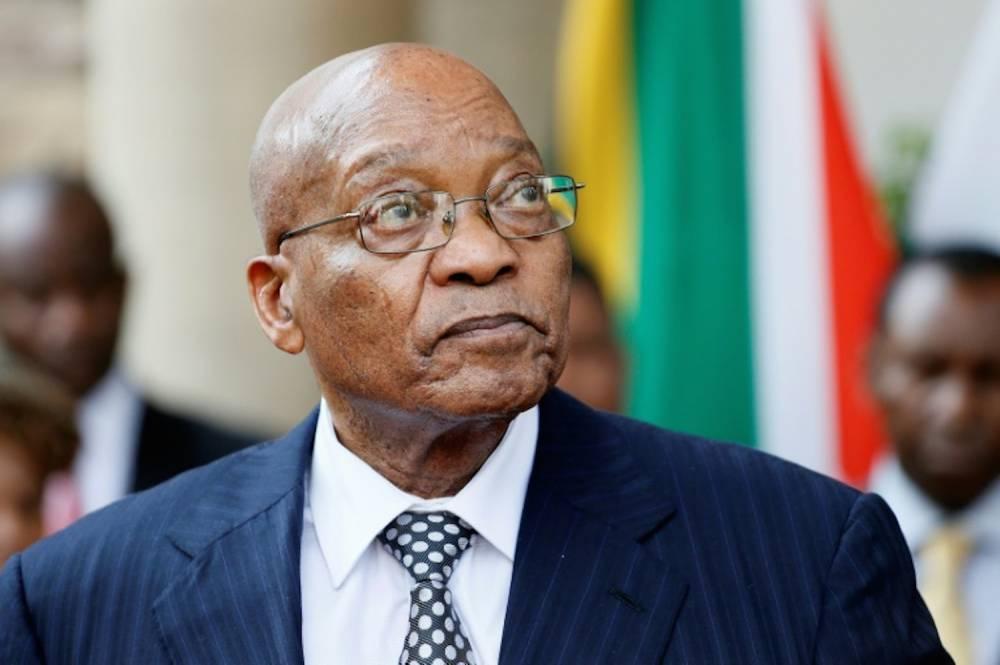 Le président sud-africain Jacob Zuma lors d'une conférence de presse à la maison présidentielle à Pretoria, le 5 avril 2017.  ©  AFP/Archives/PHILL MAGAKOE