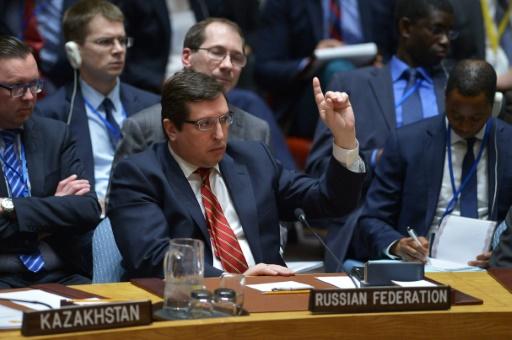 L'ambassadeur russe à l'ONU, Vladimir Safronkov, lors d'une réunion du Conseil de sécurité, le 7 avril 2017 à New York © Jewel SAMAD                          AFP