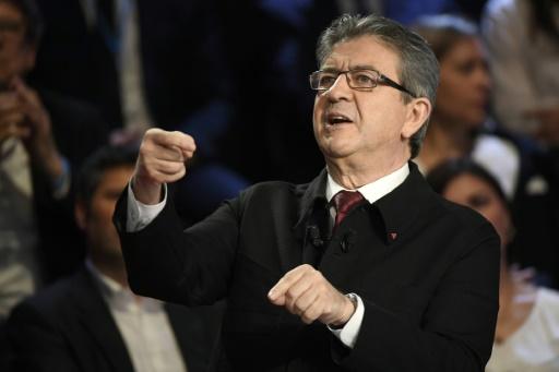 Jean-Luc Mélenchon, lors du débat télévisé entre les 11 candidats à la présidentielle organisé par BFM TV et CNews, le 4a vril 2017 à la Plaine-Saint-Denis, près de Paris © Lionel BONAVENTURE POOL/AFP