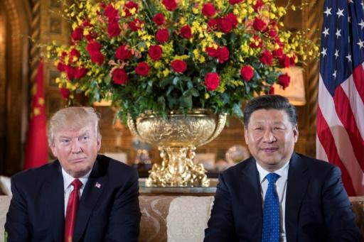 Le président américain Donald Trump (g) et son homologue chinois Xi Jinping à Mar-a-Lago, à West Palm Beach, le 6a vril 2017 en Floride © JIM WATSON AFP